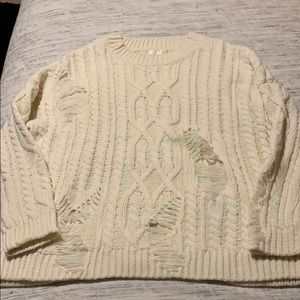 Cream distressed chunky sweater